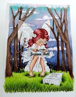 trees, sky and hair coloured on wip bookworm fairy scene