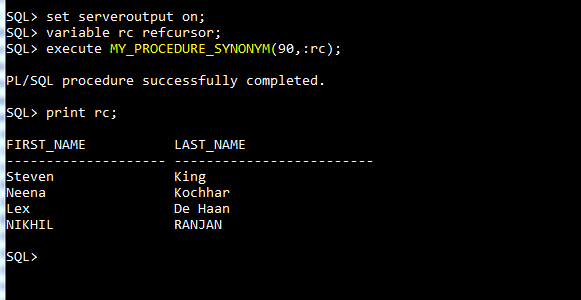 Difference between View and Synonym in Oracle database
