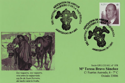 Tarjeta del matasellos de la Vaqueirada, celebrada en la Collada de Aristébano en Luarca