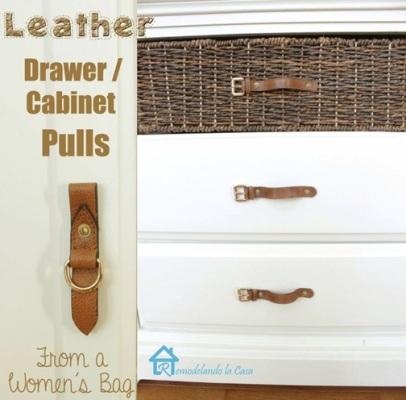 manfaatkan tali tas kulit untuk dijadikan gagang laci.