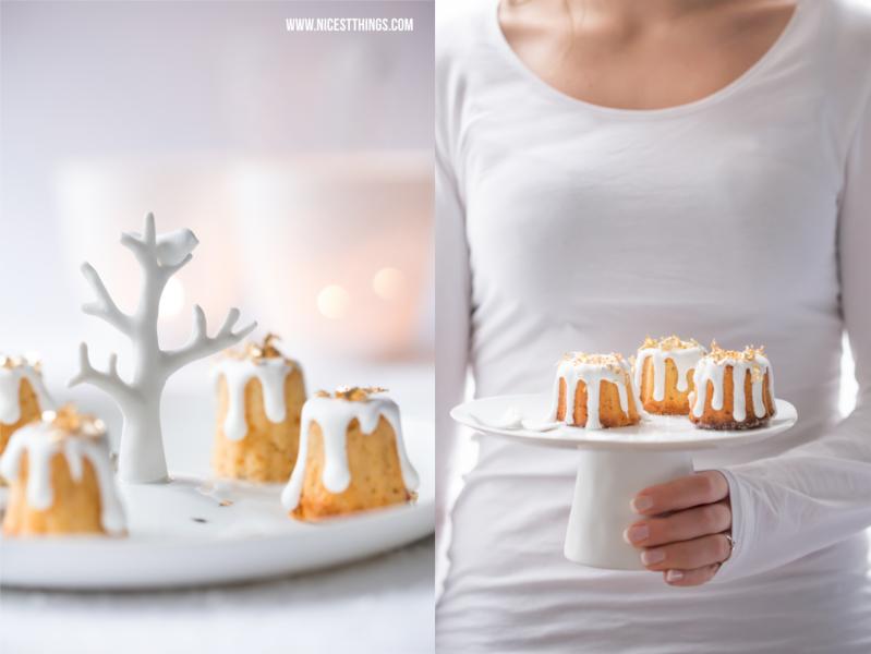 Gebrannte Mandeln Kuchen mit Blattgold, Cannelés