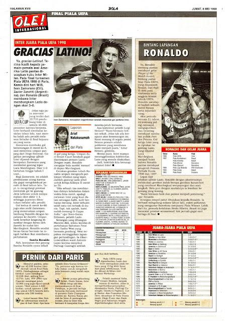UEFA CUP 1998 CHAMPION INTER MILAN IVAN ZAMORANO GRACIAS LATINO