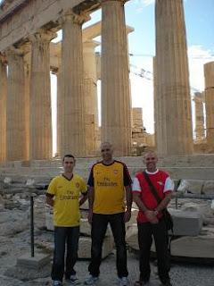 Arsenal fans on Acropolis