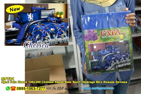 Sprei Fata Queen 160x200 Chelsea Sepak Bola Sport Olahraga Biru Remaja Dewasa