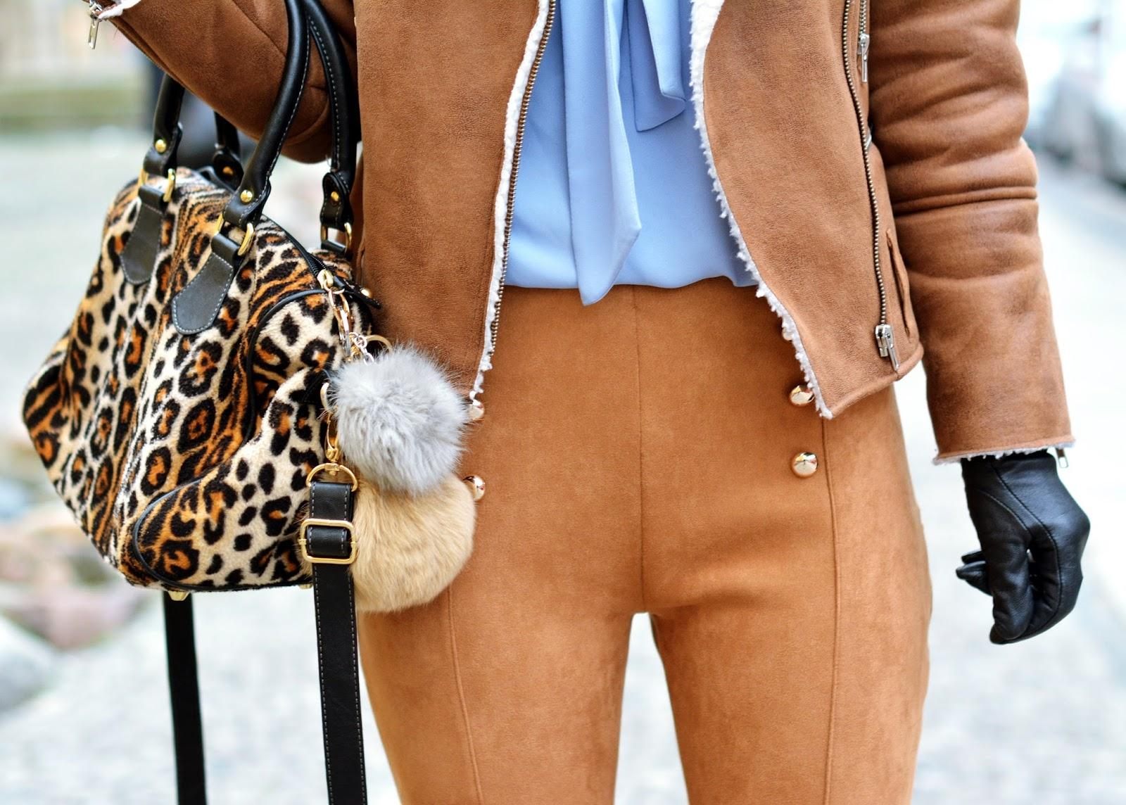 karmel, zamszowy, brąz, stylizacja, look, poznań, blog, blogger, zamszowe, spodnie, kurtka, buty