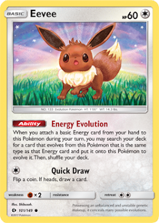 Eevee Sun and Moon Pokemon Card