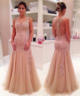 Trumpet/Mermaid V-neck Tulle Floor-length Appliques Lace Prom Dresses