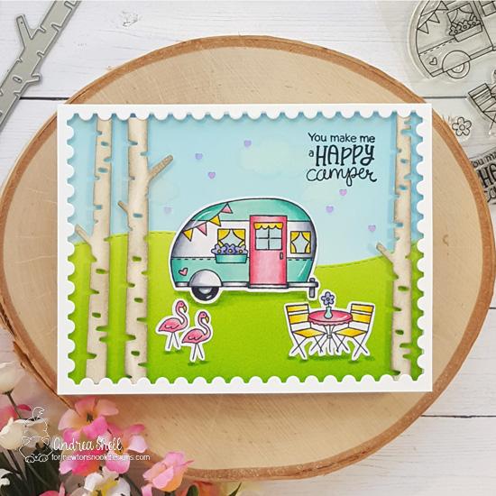 Happy Camper Card by Andrea Shell | Cozy Campers Stamp Set, Land Borders Die Set, Forest Scene Builder Die Set and Framework Die Set by Newton's Nook Designs #newtonsnook #handmade