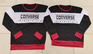 Jual Online Sweater Converse Bold Black Murah Jakarta Bahan Babytery Terbaru