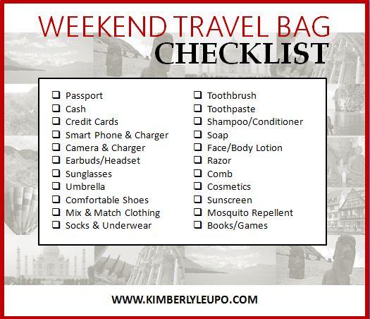 weekend trip checklist