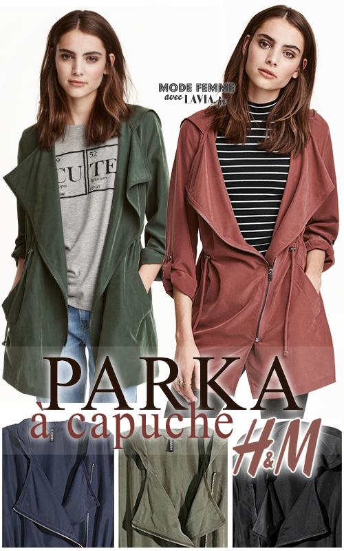 Parka femme à capuche kaki, noire, bleue marine, vert foncé ou rouille H&M