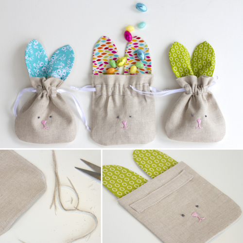Drawstring Bunny Bags - Tutorial