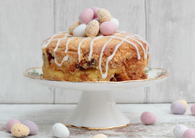Cherry and marzipan sponge cake topped with mini eggs for Easter