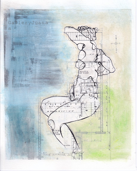 Woman II, ink figure, 8 x 10, juana almaguer