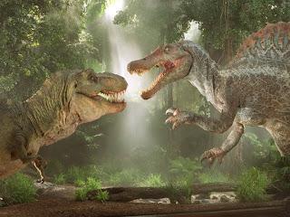 lucha entre el Spinosaurus y el Tyrannosaurus rex