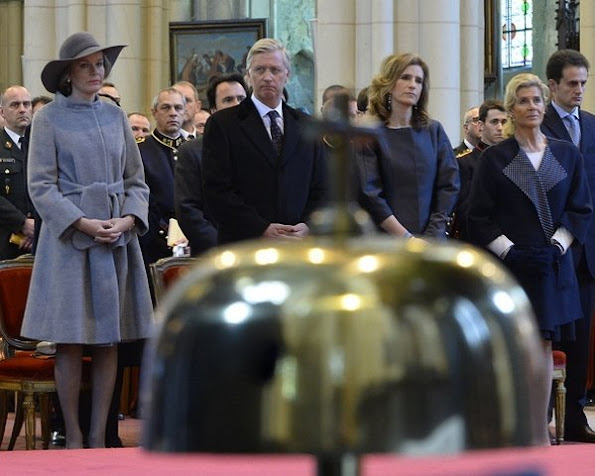 Queen Mathilde of Belgium, King Filip of Belgium, Princess Maria Esmeralda of Belgium and Princess Lea attends a special mass to commemorate the deceased members of the Belgian Royal Family
