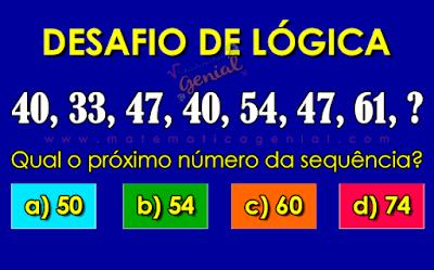 Qual o próximo número da sequência? 40, 33, 47, 40, 54, 47, 61, ?