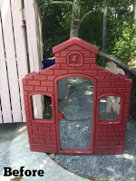 Before pictures of a plastic playhouse