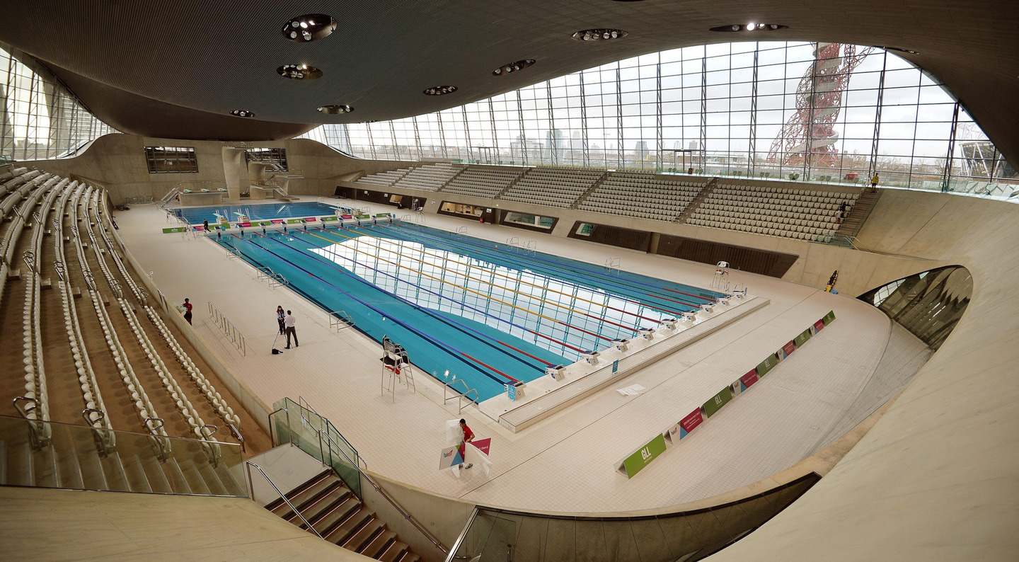 Tthe London Aquatics Centre built for the 2012 Olympic Games.