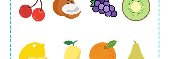 Fichas de frutas en inglés