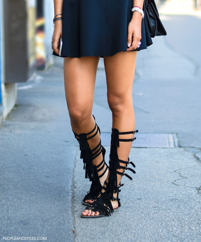 Chic summer outfit: black gladiator sandals with black summer dress, Anja Stanić, street style summer outfit