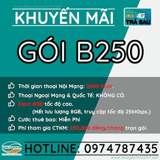 B250 - GÓI KHUYẾN MÃI TRẢ SAU VIETTEL B250
