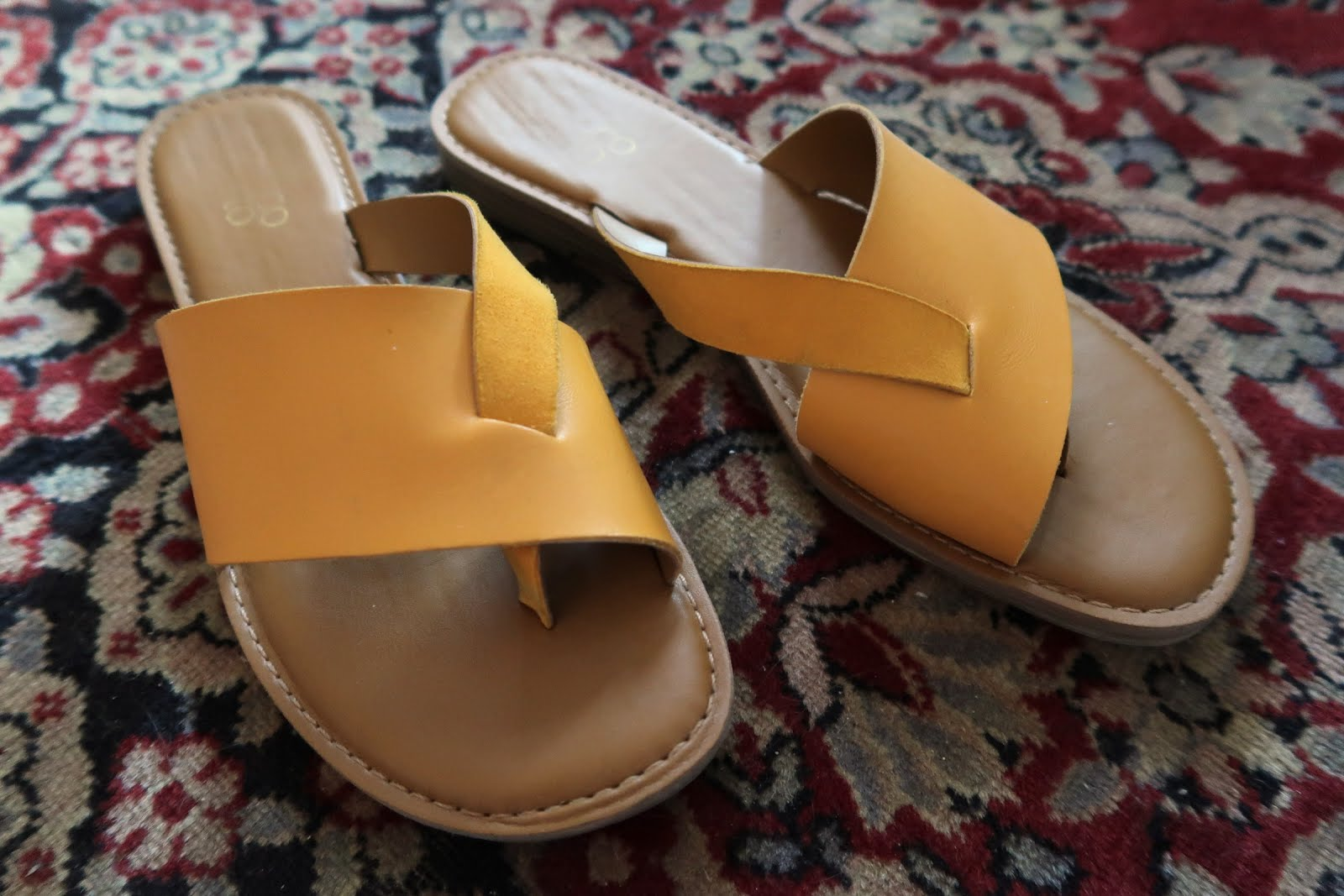 franco sarto gene sandal flat slide yellow strap summer