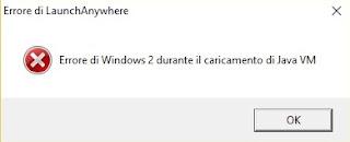 Errore di Windows 2 durante il caricamento di Java VM - Errore di LaunchAnywhere