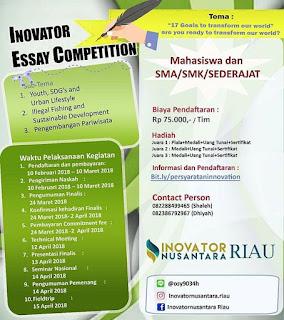 Lomba Inovator Essay Competition 2018 by Inovator Nusantara Riau
