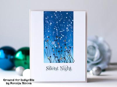 Elegant homemade Christmas Card with Glitter