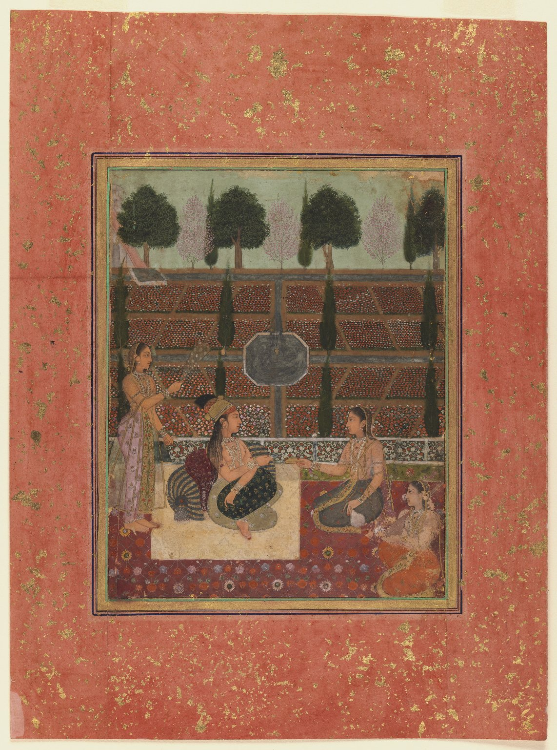 A Hindu lady and Three of her Attendants are on a Terrace - Mughal Painting Circa 1700-1710