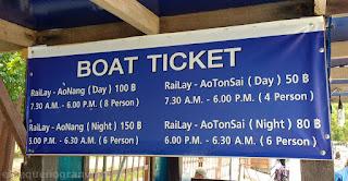 tarifas botes Ao Nang, krabi, horario