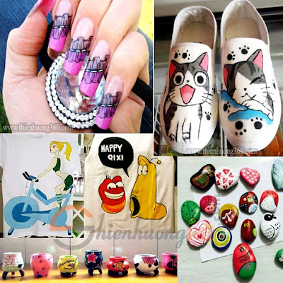 Màu acrylic dùng vẽ móng tay, vẽ giày, áo thun, mô hình, gốm sứ, gỗ...