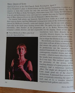 Review of OperaUpClose's Mary Queen of Scots in Opera Magazine
