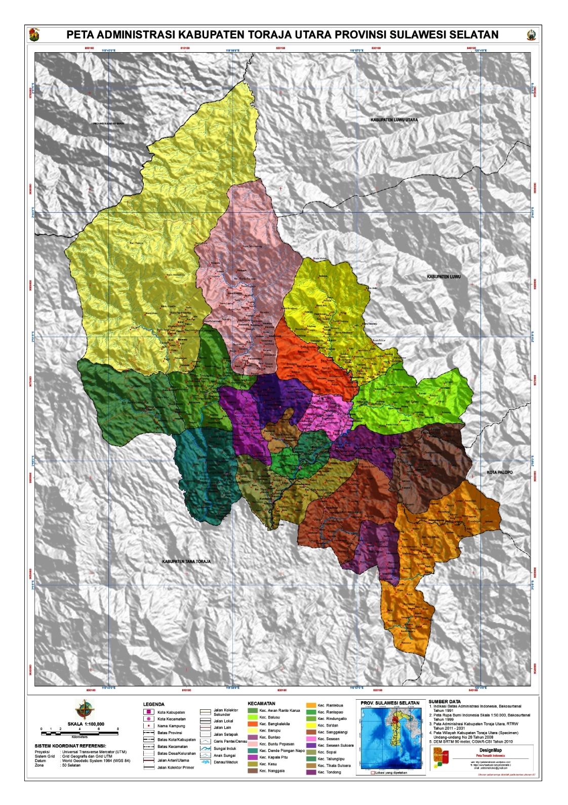 Peta Kota: Peta Kabupaten Toraja Utara