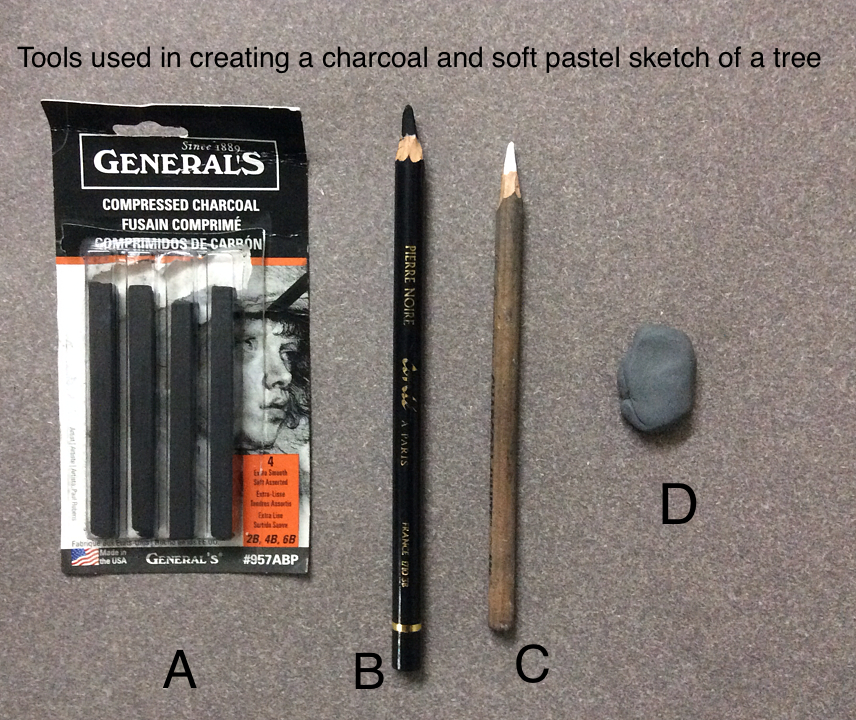 Tools used for creating a charcoal and white pastel pencil sketch by Manju Panchal