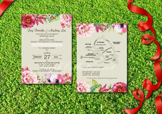 wild watercolour flowers wedding invitation card printing malaysia, penang, johor bahru, ipoh, perak, melaka, seremban, pahang, bentong, kuantan, singapore, kota kinabalu, kuching, miri, bintulu, sabah, sarawak, online order, express, urgent, rush, delivery, simple, special, unique, one of its kind, custom design, handmade, hand crafted, grass, green, ivory, flat card, art card, pearl, envelope, tag, sticker, wedding favour, ribbon, format, kad kad kahwin, bunga, cantik