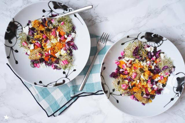 assiette végétale complète millet betterave chou rouge graines de courge sans gluten veggie
