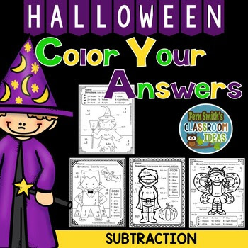 Halloween Fun! Basic Subtraction Facts - Color By Numbers Bundle