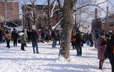 Gathering at Moss Park for OCAP rally, Saturday January 26 2013.
