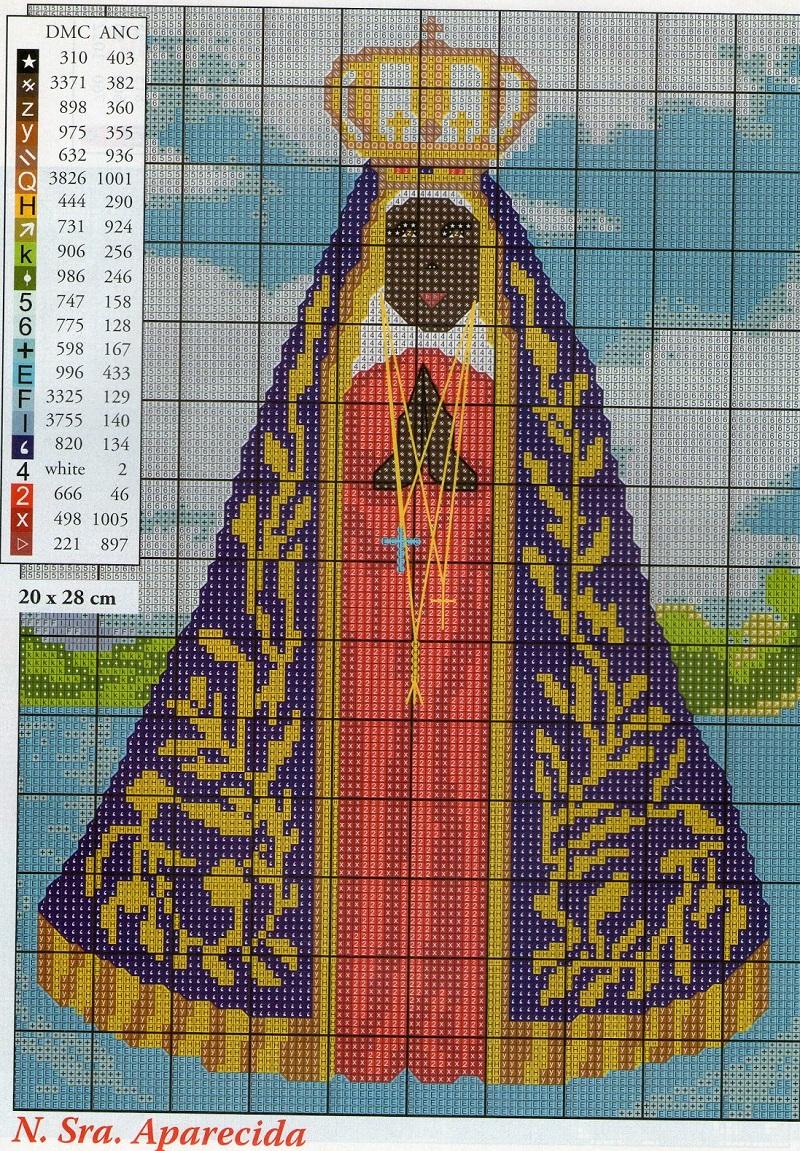 DIY Ponto Cruz - Nossa Senhora Aparecida Em Ponto Cruz Com Diagrama