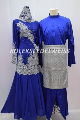 Set Dress Royal Blue Grey  Sedondon Muslimah  2016