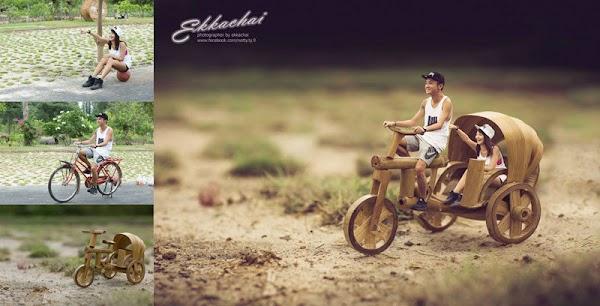 مصور زفاف تايلاندى يصور العرائس علي طريقته الخاصة ويحولهم الى شخصيات مصغرة كالذين يعيشون في عالم العملاقة  عن طريق الفوتوشوب