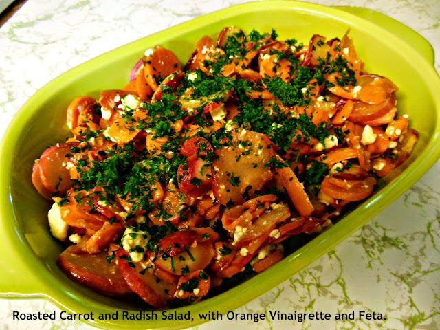 Roasted Carrot and Radish Salad, with Orange Vinaigrette and Feta.
