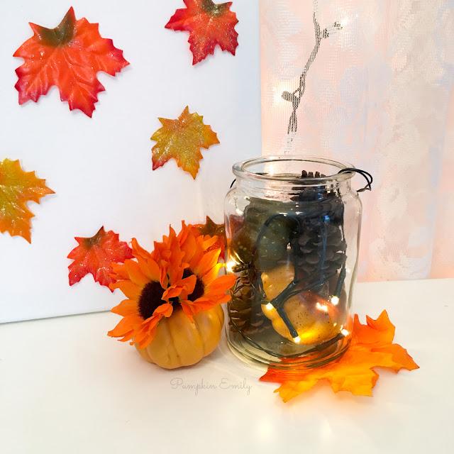 Fall leaf canvas, flower pumpkin and a fall jar lantern