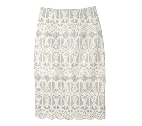 Patterned Scallop Hem Skirt