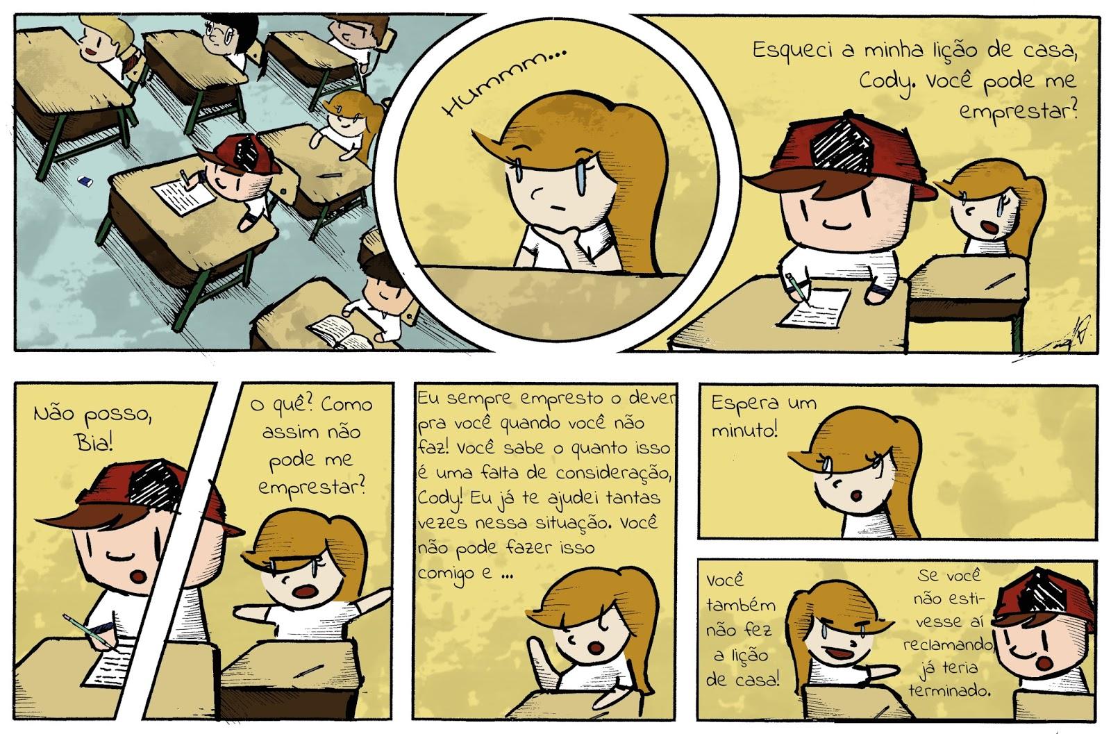 Tirinha sobre a lição de casa