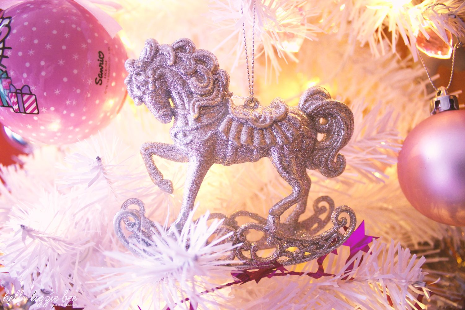 pink christmas decorations, rocking horse