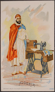 "An illustration of a man standing next to a sewing machine, captioned ""Algeria."""