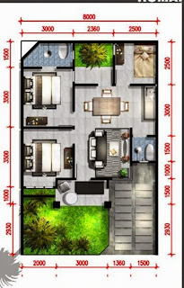 2 contoh gambar denah rumah minimalis type 60   desain